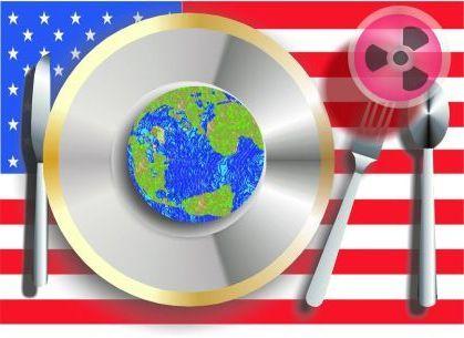 Desencontros do mundo moderno,  bandeira americana como fundo. - Composição de antonio Pereira Apon.
