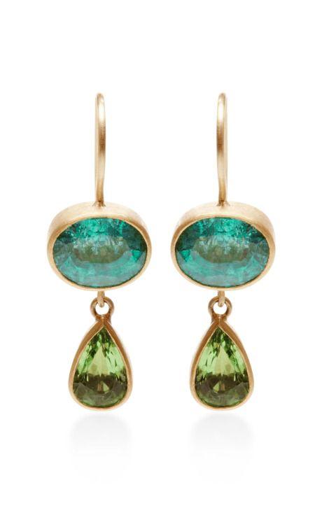 One of a Kind Emerald and Tsavorite Bon Bon Earrings by Mallary Marks - Moda Operandi
