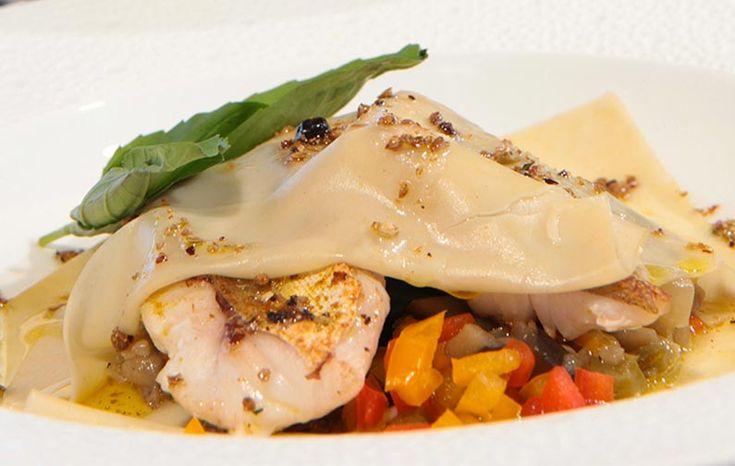 Raviole ouverte de galinette et ratatouille confite #recette #plat #ratatouille