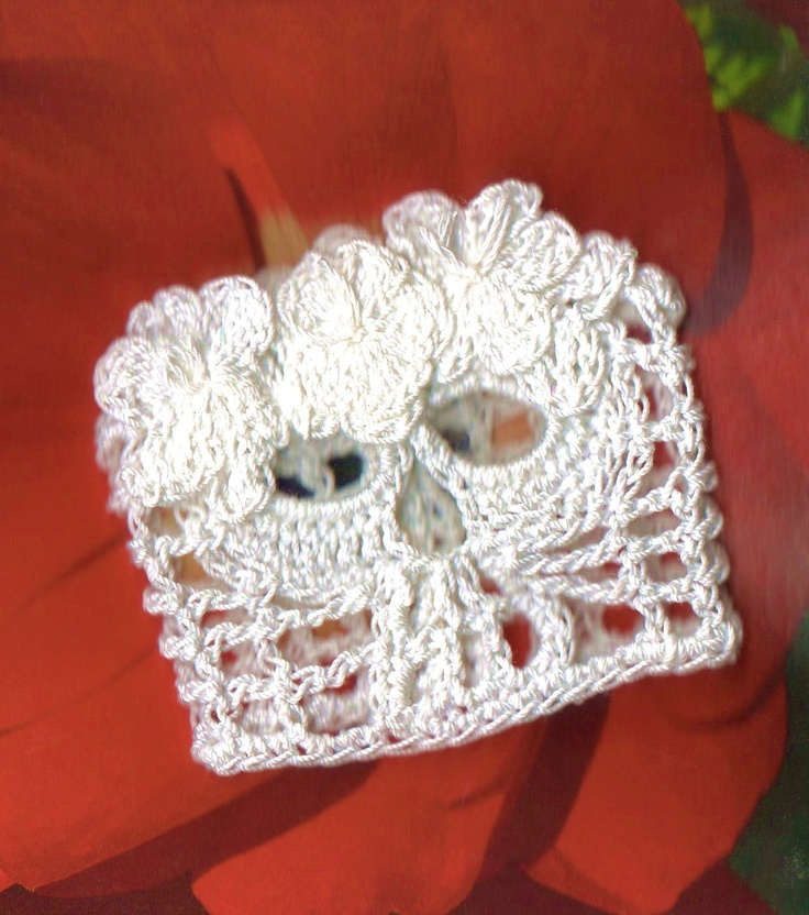 La Novia Day Of The Dead Crochet Skull Cuff Bracelet ...