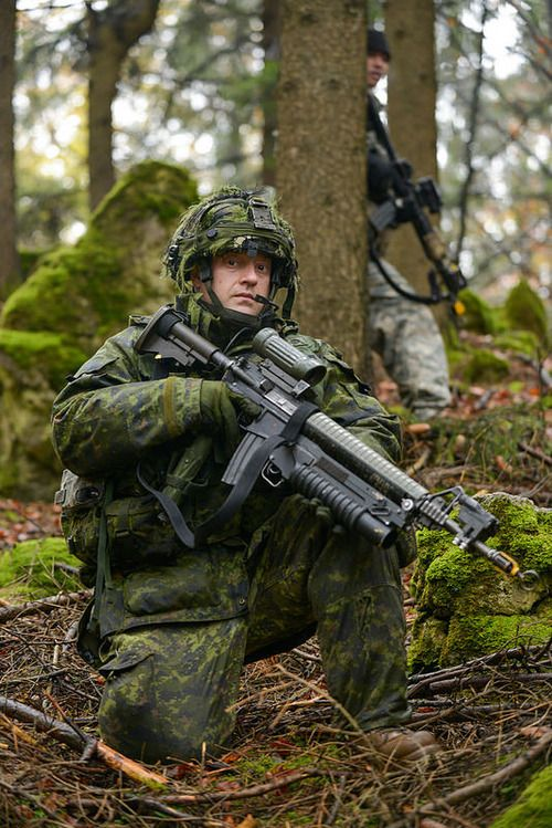 Canadian and U.S soldiers playing the enemy against Danish soldiers at U.S. Army's Hohenfels Training Area (Germany), Nov. 6, 2014, during the large scale multinational exercise Combined Resolve III.