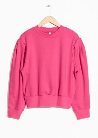 Puff Sleeve Pink Cotton Sweater // & Other Stories