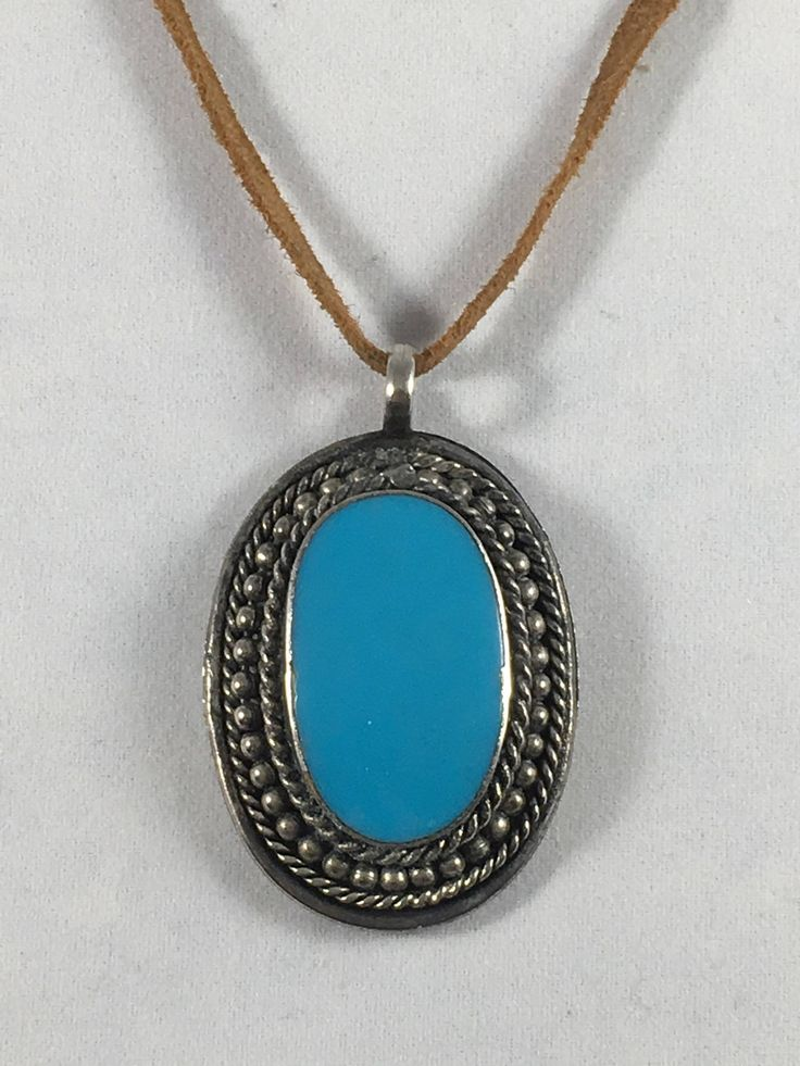 Vintage Southwest Large Turquoise Oval Pendant Leather Necklace by BellevueJewelry on Etsy