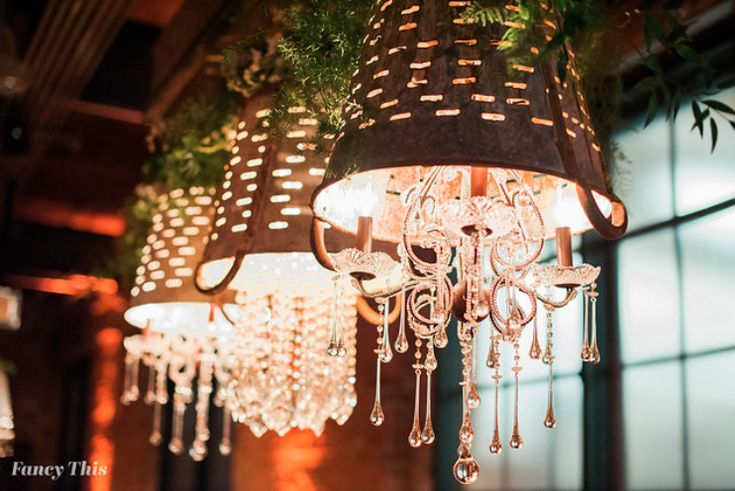Meet Liza, Get Lit's custom shabby chic 3 olive bucket chandeliers, dripping with crystal. Photo by Fancy This.  Southern Bride and Groom vendor appreciation event at Angus Barn, Bay 7, 2018