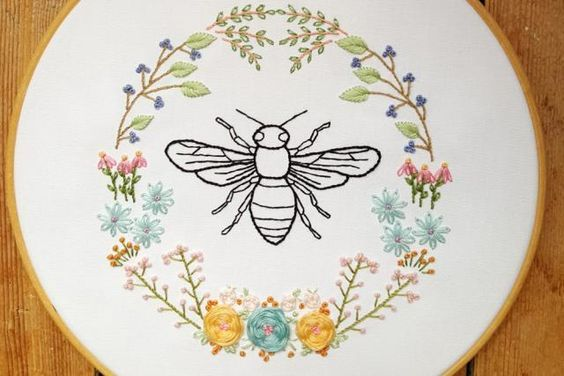 10 Bee and Honeycomb Themed Embroidery Patterns - cute embroidery patterns for spring! Step up those floral embroidery patterns with some cute honeycombs and bees.