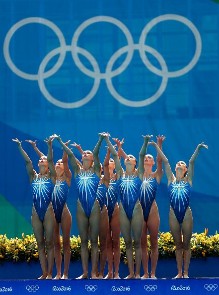 Team Russia competes in the Synchronised Swimming Teams Free Routine on Day 14…