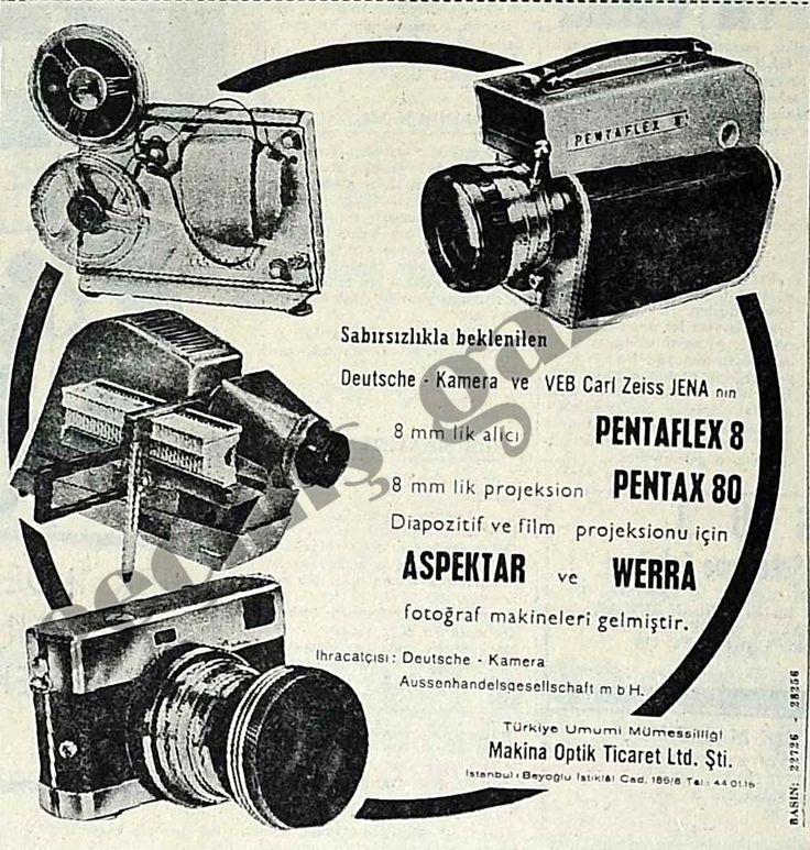 1963 Diapozitif ve film projeksionu için Aspektar ve Werra fotoğraf makineleri gelmiştir