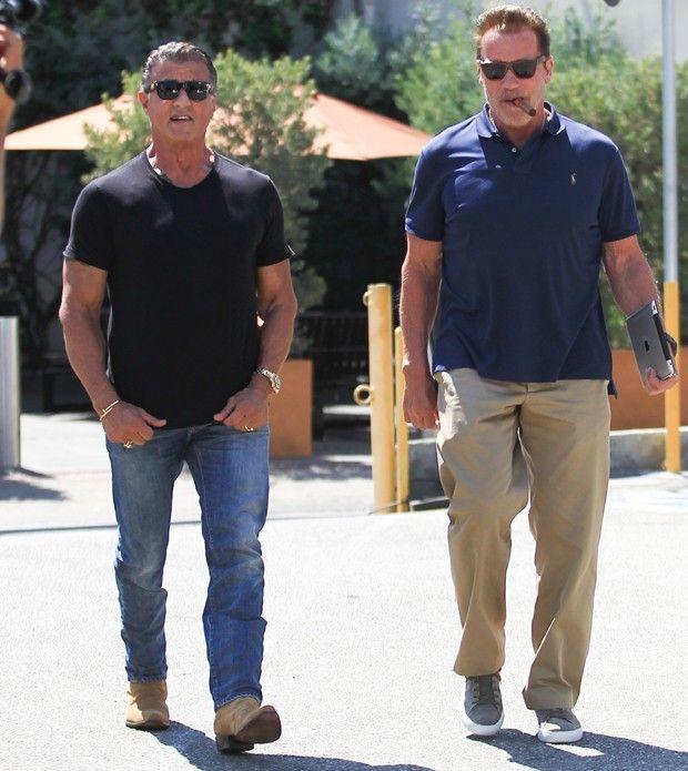Que encontro! Sylvester Stallone e Arnold Scharzenegger almoçam juntos