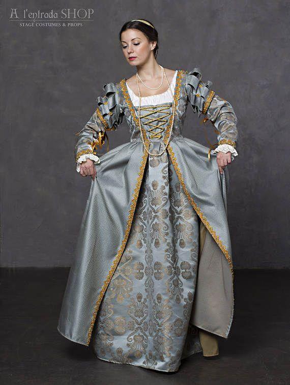 Italienische Renaissance Kleid. Blaue Ren Faire Kostüm ...
