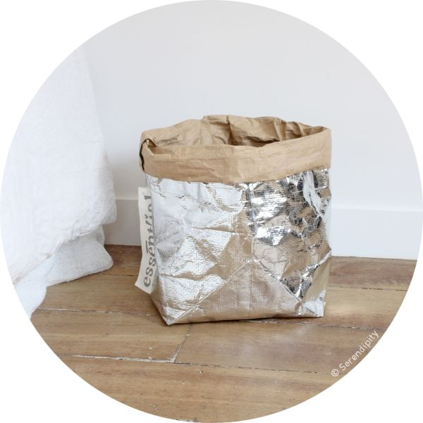 All the items box, basket, tidies, bags of Essent'ials collection are made of cellulose fibbers from recycled wastes,sold at Serendipity's