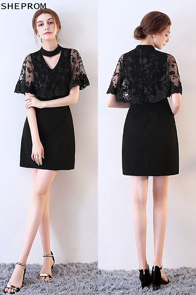 d131bf027d6 Sheath Little Black Lace Cocktail Dress with Cape -  67.15  MXL86019 -  SheProm.com in 2018