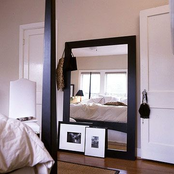 Add Mirrors  Prop a large framed mirror against a wall to create the illusion of greater depth in a room. Even small mirrors expand the sense of space by reflecting views and light, but an oversize mirror like this one has a dramatic effect because it reflects a large chunk of the room.