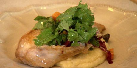 Chicken with Polenta and Mustard Greens