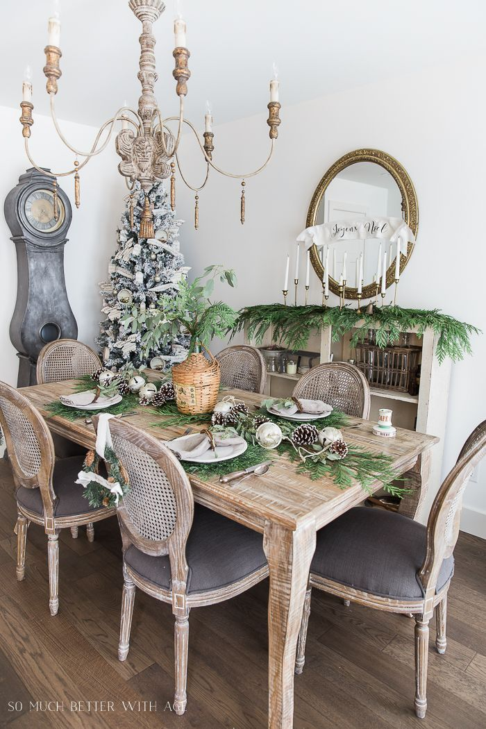 french christmas dining room with evergreen pinecones and banners rh pinterest com