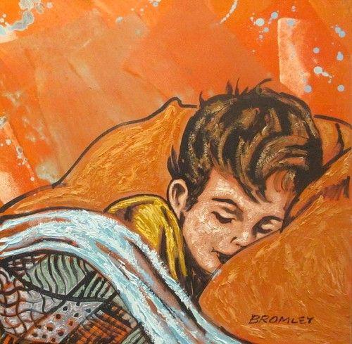 "DAVID BROMLEY ""Bedtime"" Acrylic on Canvas, Signed 90cm x 90cm"