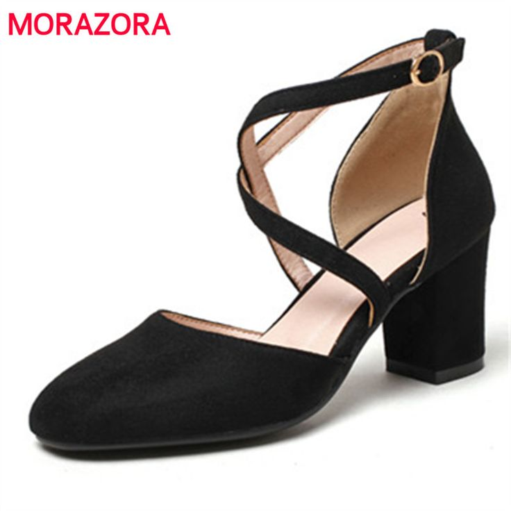 Cheap high heel shoes, Buy Quality heel shoes directly from China shoes elegant Suppliers: MORAZORA Square toe high heels shoes in summer women pumps wedding party shoes fashion elegant flock solid big size shoes 34-43
