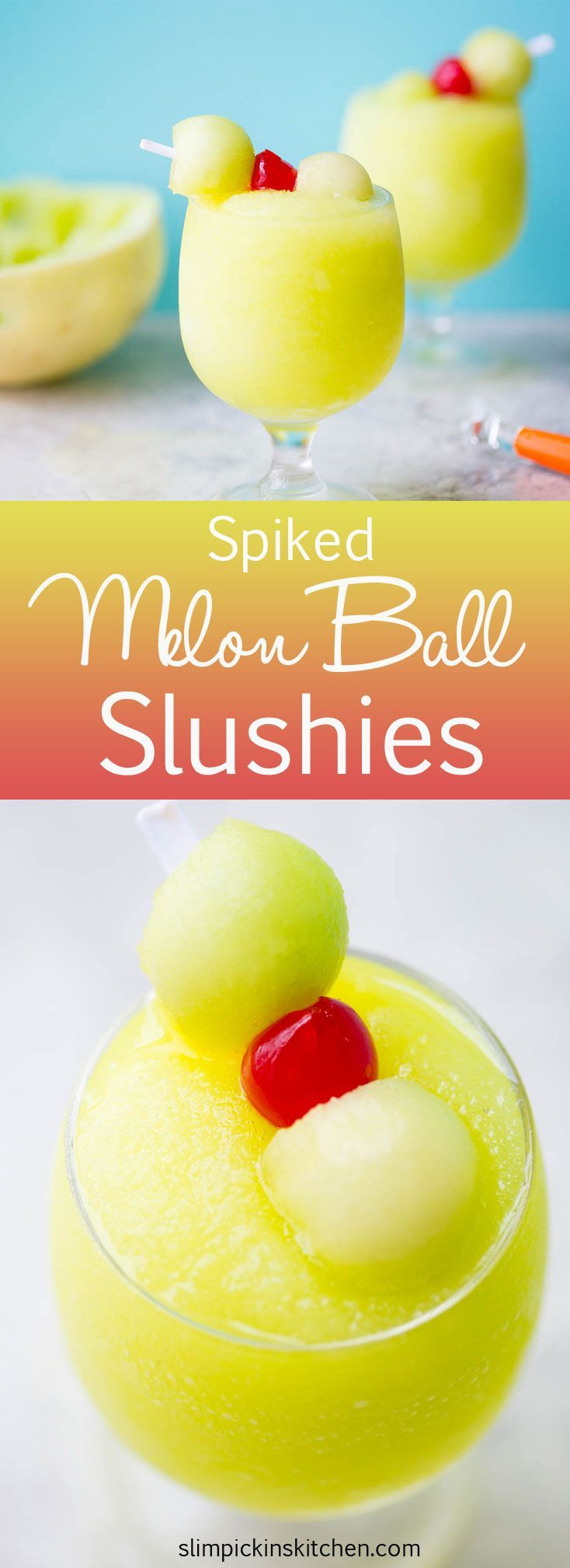 Spiked Melon Ball Slushies: A frozen twist on the classic melon ball drink made with freshly frozen Honeydew, melon liquor, melon vodka, and sweet pineapple juice.