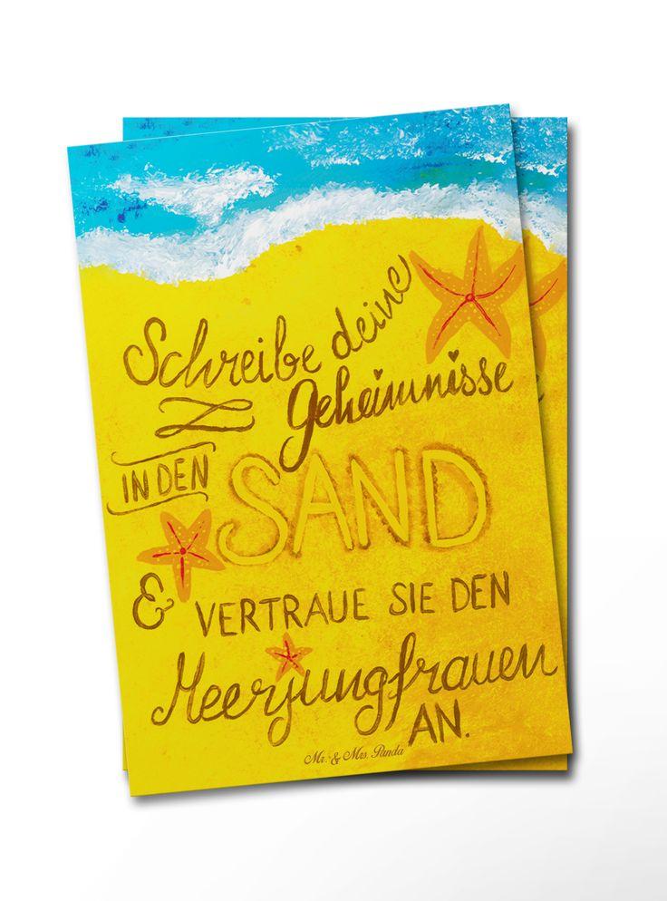 Postkarte Geheimnisse Meerjungfrauen  aus Karton 300 Gramm  weiß - Das Original von Mr. & Mrs. Panda.  Diese wunderschöne Postkarte aus edlem und hochwertigem 300 Gramm Papier wurde matt glänzend bedruckt und wirkt dadurch sehr edel. Natürlich ist sie auch als Geschenkkarte oder Einladungskarte problemlos zu verwenden. Jede unserer Postkarten wird von uns per Hand entworfen, gefertigt, verpackt und verschickt.    Über unser Motiv Geheimnisse Meerjungfrauen   Teile deine Geheimnisse und…