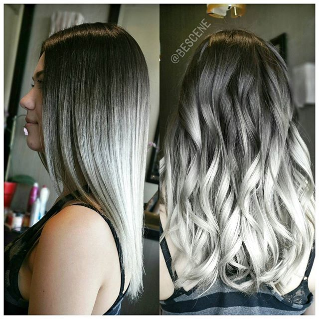 SMOKEY SILVER OMBRE! For one of my favorites @kristinaraesaylor! I used all @Schwarzkopfusa for the color. Prelightened using #Schwarzkopf #Blondme Premium Lift lightner. Styled by my assistant @hairmd_sara. #BESCENE
