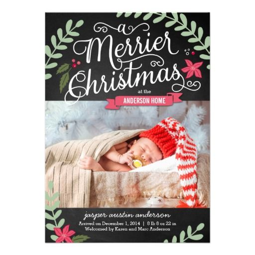 Merrier Christmas Birth Announcement/Holiday Card