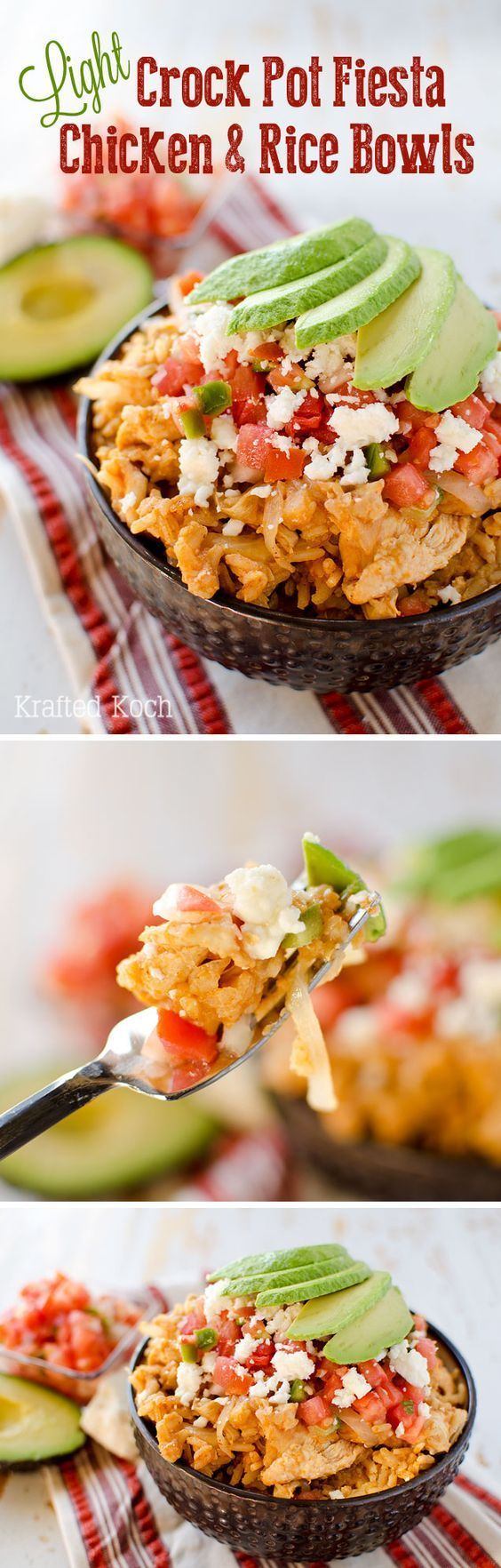 Light Crock Pot Fiesta Chicken & Rice Bowls  - An easy weeknight dinner recipe, loaded with bold Mexican flavor, made in your slow cooker for a healthy and delicious dinner. (Light Mexican Recipes)