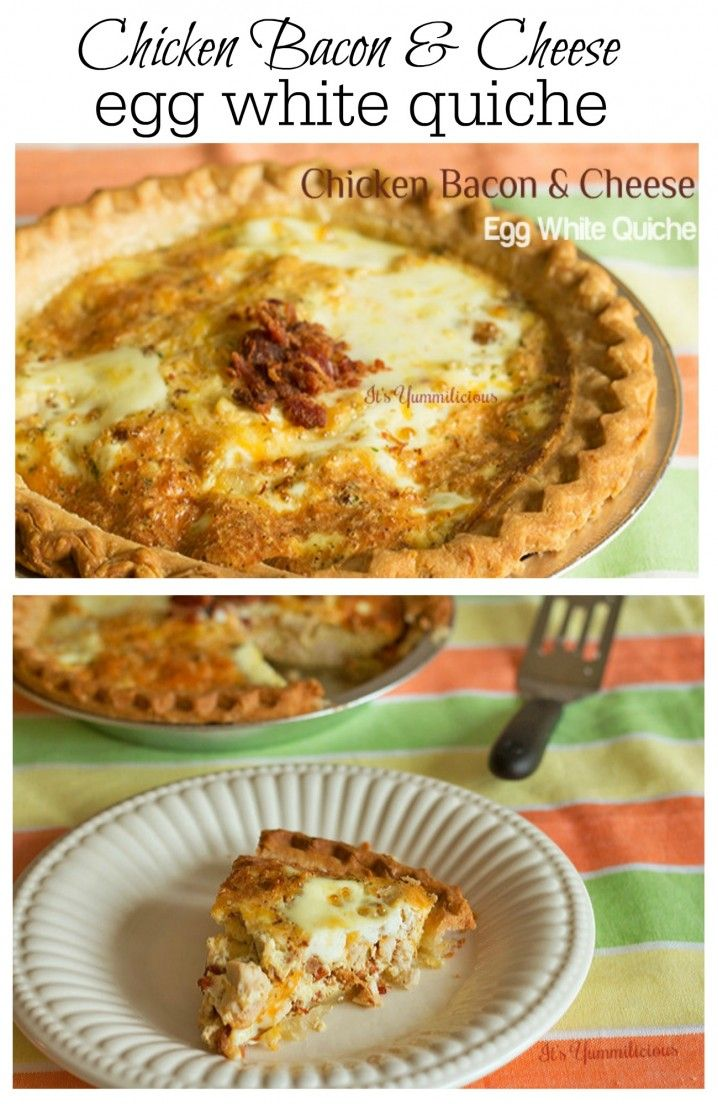Loaded with protein (and lots of bacon)!  Chicken bacon & cheese egg white quiche from ItsYummi.com