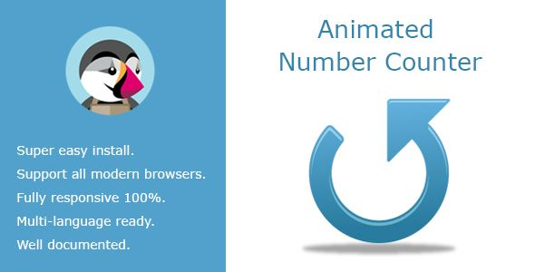 Animated Number Counter . The number counter is a great way to display numbers in a fun and engaging way. This module is commonly used to display statistics about yourself or your company. Animated number counter lets you apply an animated number counter effect to any number of your choosing.This is a multipurpose