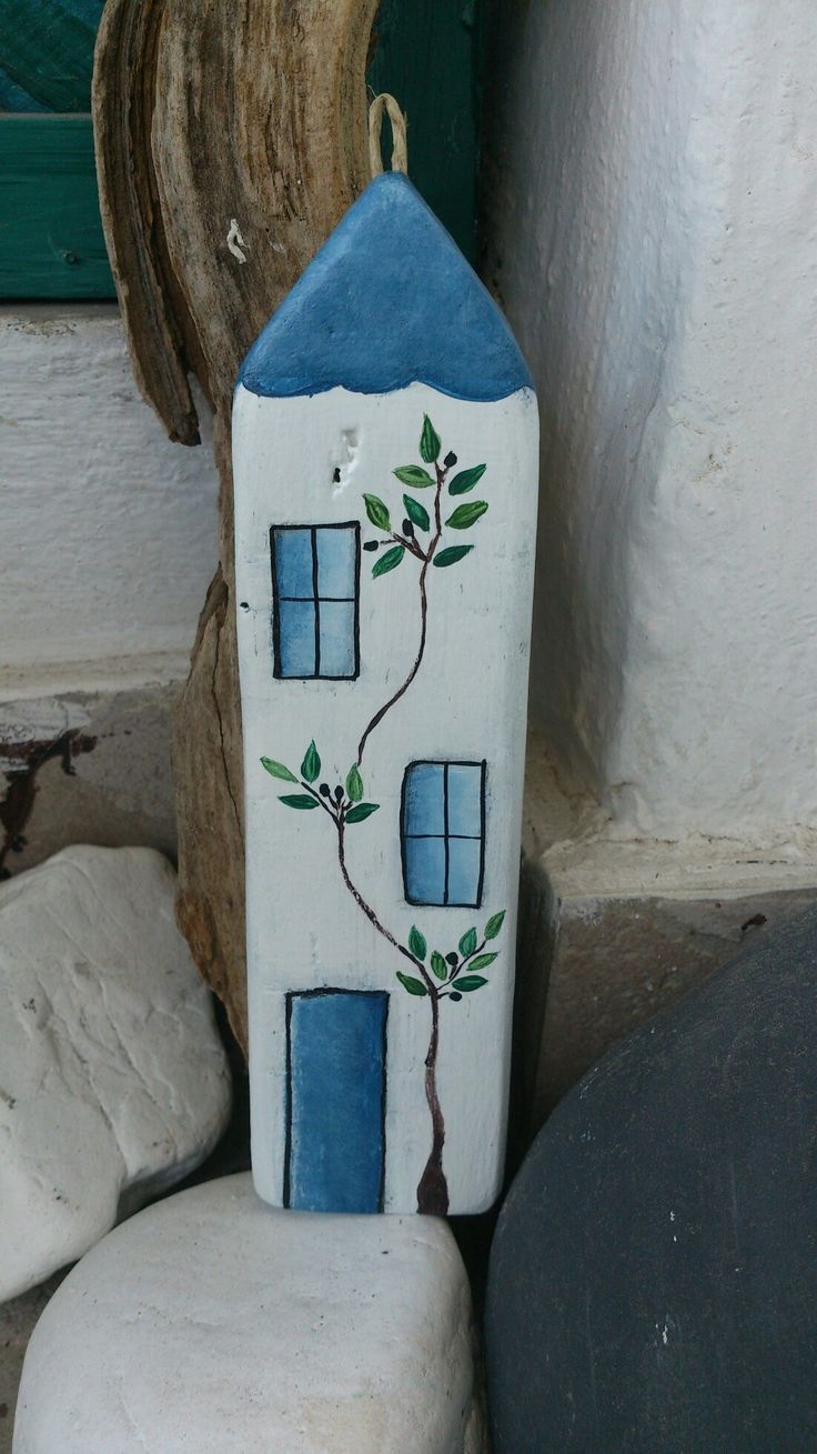 Handmade wooden home with olive tree painted with acrylics by Anna Vassila