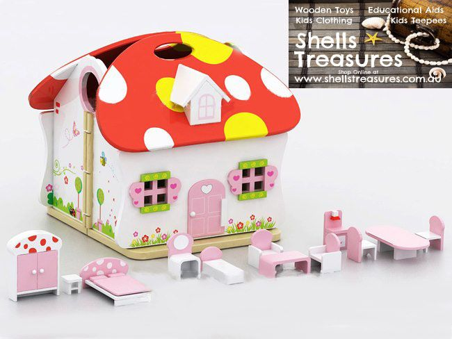 Fairy Mushroom House with furniture and 2 Fairies. In stock $79.  For more information follow this link http://www.shellstreasures.com.au/#!product/prd1/1153751681/vintage-lap-top-