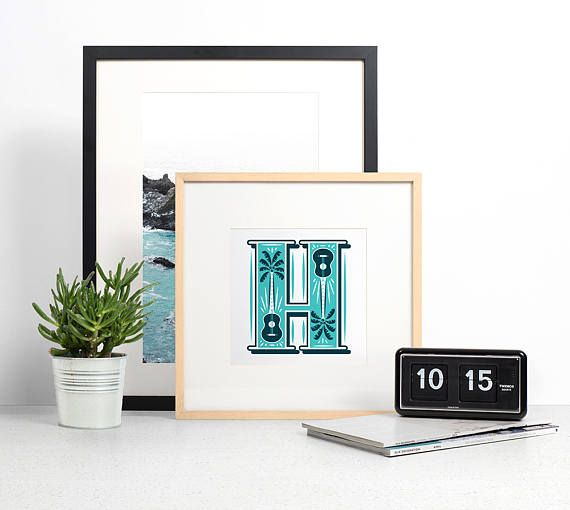 Letter H Print, Monogram Wall Art, Typography Print, Graphic Initial Poster, Wall Letter