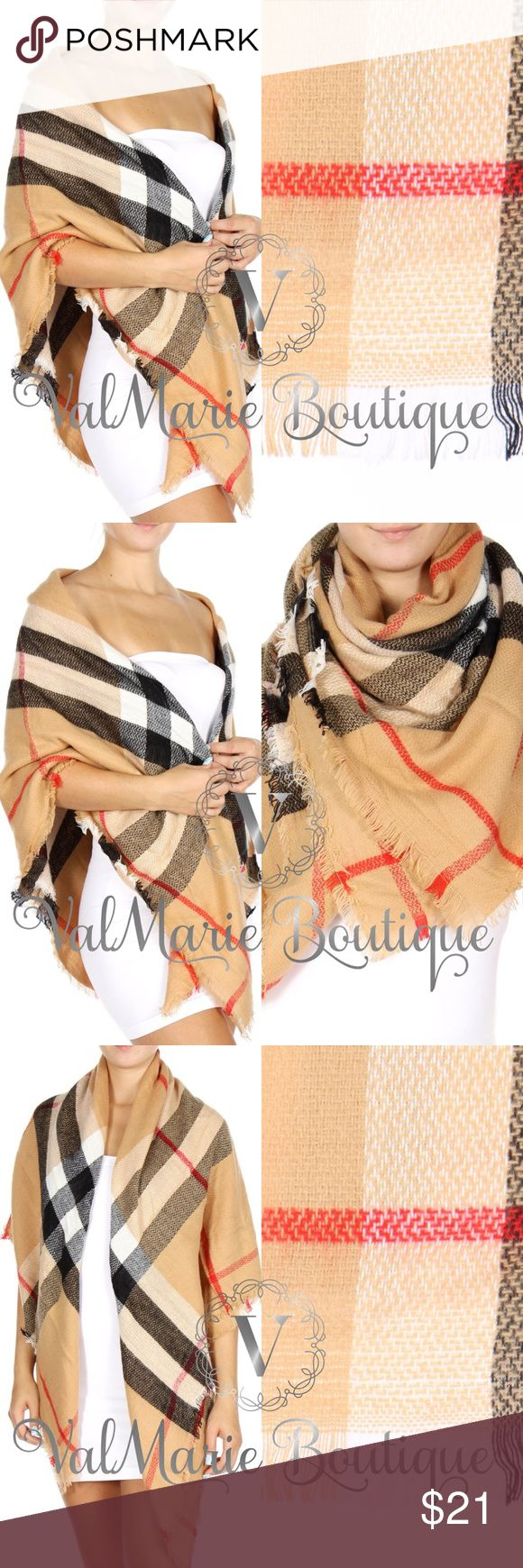 Oversized Plaid Camel Scarf Get this MEGA SOFT luxurious oversized Plaid check scarf now! Feels so elegant on your skin. Wear it as a scarf, shawl or wrap coverup. Perfect for Fall or Winter! One size fits all! ValMarie Accessories Scarves & Wraps