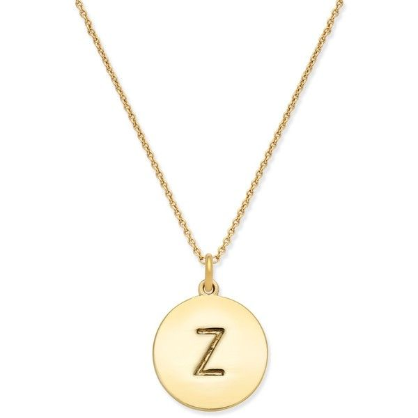 "kate spade new york 17"" 12k Gold-Plated Initials Pendant Necklace featuring polyvore, women's fashion, jewelry, necklaces, z, letters necklace, lobster clasp necklace, initial pendant necklaces, kate spade jewelry and pendant necklace"