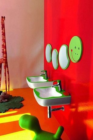 Contemporary Kids Bathroom With Laufen Florakids Small Washbasin In Green,  Laufen FLORA KIDS Basin Mixer
