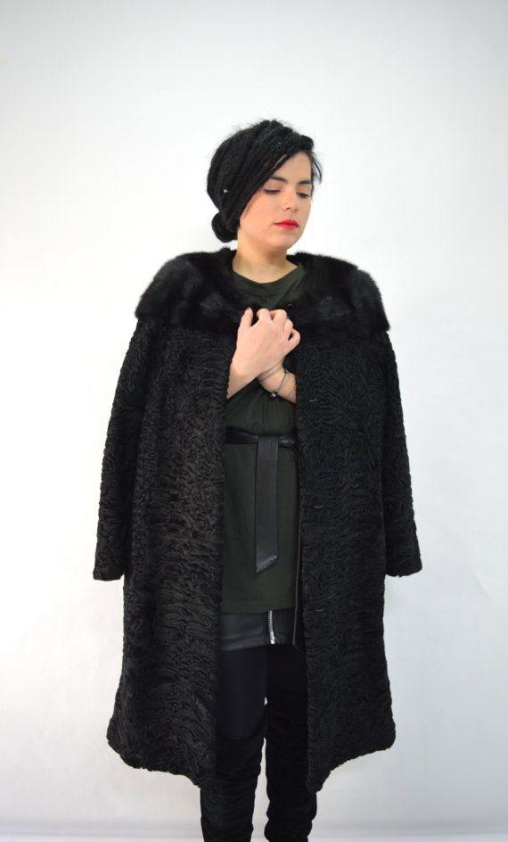 Real fur coat genuine Swakara fur jacket black full skin by BeFur