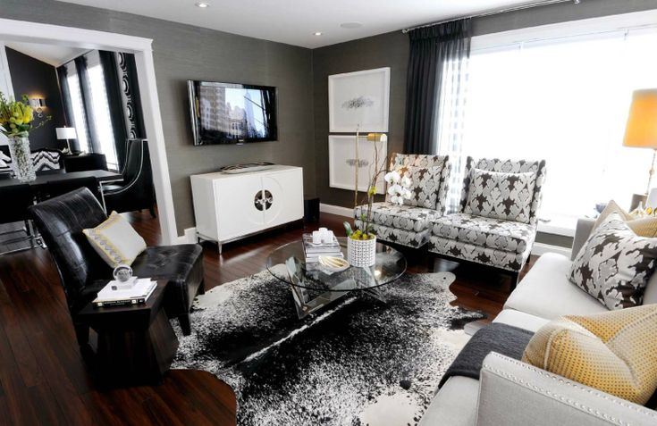 Marvelous How To Decorate In Black And White......a Touch Of Yellow | Ideas For The  House | Pinterest | Grey, Living Rooms And Charcoal