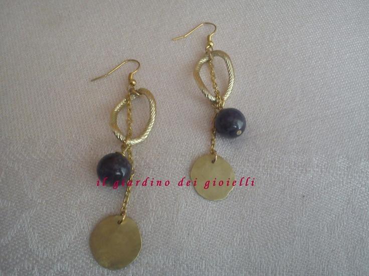brass earrings and amethyst