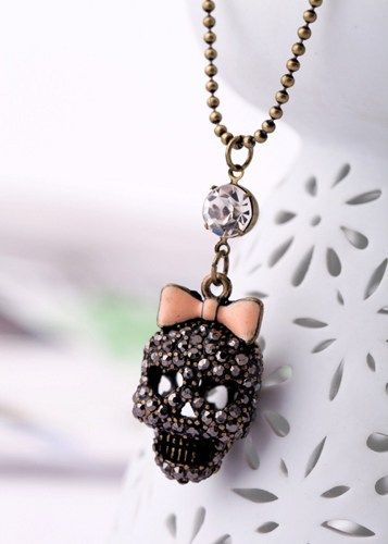 Black Crystal skull bow necklace pendant alloy diy bling phone deco  | chriszcoolstuff - Craft Supplies on ArtFire