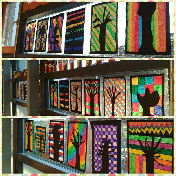 Schaduwbomen met kleurrijke patronen