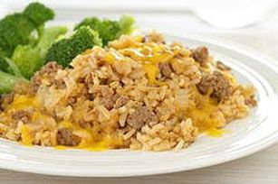 BBQ Cheeseburger & Rice Skillet recipe. Yummy.  My son asked me to make it every night for dinner!!