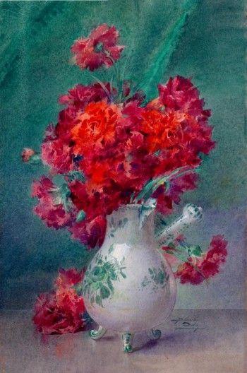 Oeillets rouges dans un vase de Moustiers - Blanche Odin
