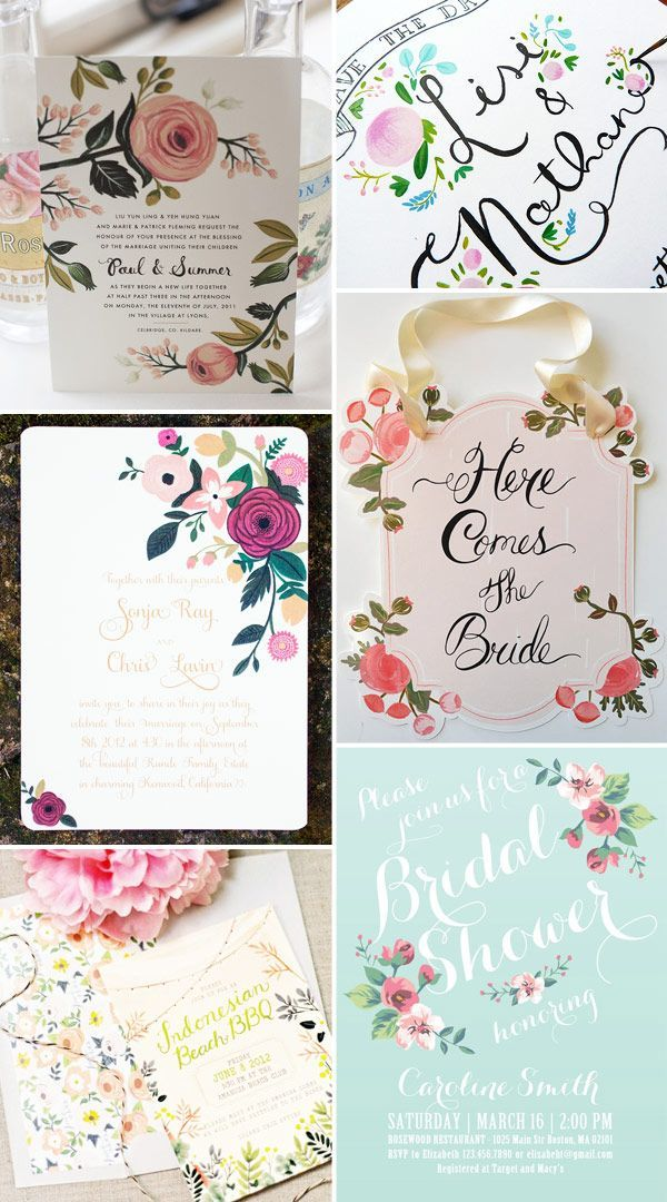 Rustic & Whimsical Floral Wedding Invitations-- pretty font! Might be nice for a bridal shower.