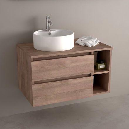 mobilier plan vasque en ch ne fonc pour salle de bain