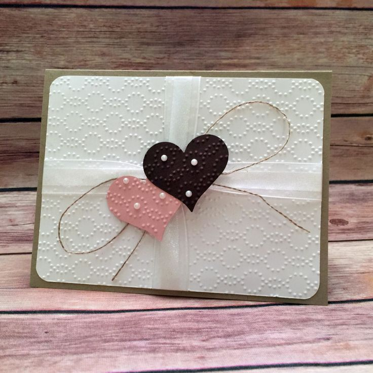 """stampcandy.net, Stampin' Up!, card designed by Debbie Catlett, Sweetheart Punch, Project Life Corner Punch, Elegant Dots embossing folder, Pearl Basic Jewels, Linen Thread, Whisper White 5/8"""" Organza Ribbon, Valentine, wedding, anniversary, love, card"""