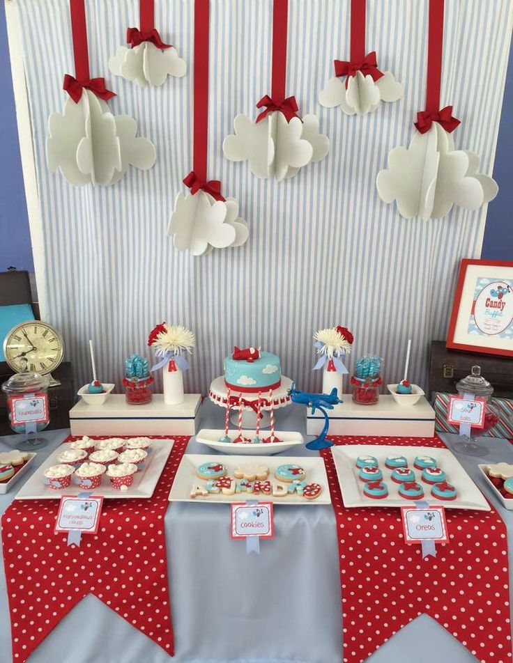 Fun dessert table at an airplane birthday party! See more party planning ideas at CatchMyParty.com!