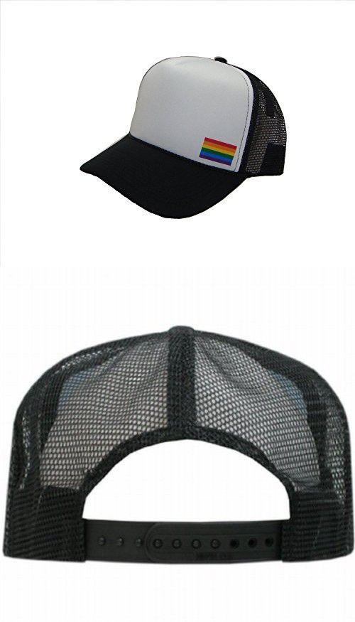 fafb64b9b17 THS Rainbow Gay Pride Flag Side Logo Mesh Trucker Cap (One Size ...