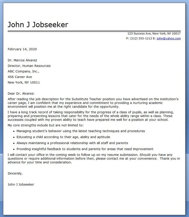 using substitute teacher cover letter examples is a great way to learn how to write your own professional cover letter for your job search. Resume Example. Resume CV Cover Letter
