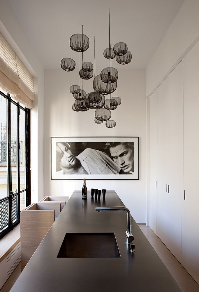 Modern look for a kitchen the lights seem to lead the eyes straight to the wall art art wall art art inspiration design home decor