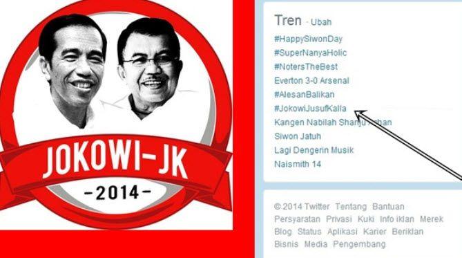 #JokowiJusufKalla Jadi Trending Topic di Twitter
