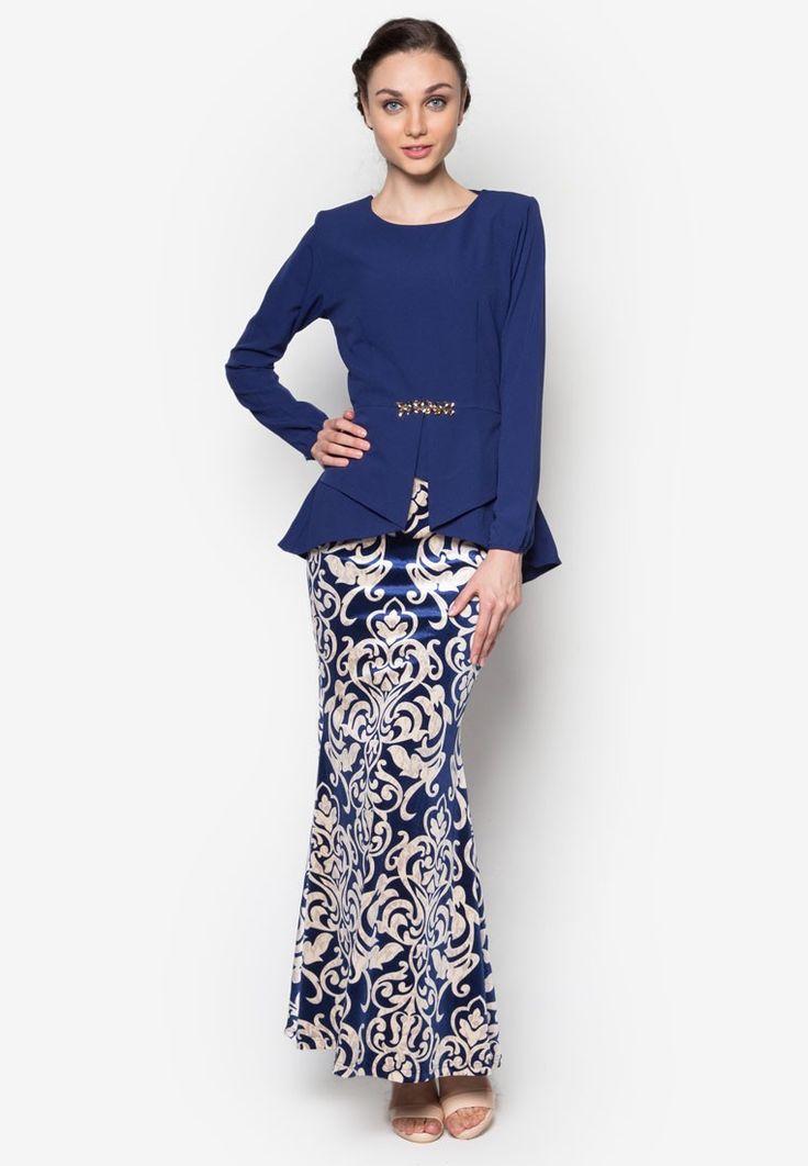 Kebaya Peplum Midi Kurung from Zuco Fashion in blue_1