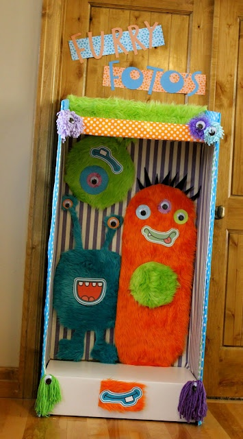 Photo booth for Monster Party - site has lots of cute ideas
